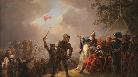 Illustration: Dannebrog falder ned fra himlen under Volmerslaget ved Lyndanis 15. juni 1219, C.A. Lorentzen (1809), red.