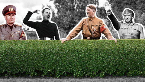 Superhits of the 30's til gruppebillede i forstaden: Mussolini, Mosley, Hitler, Franco.