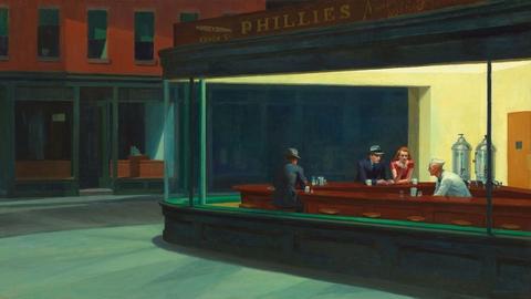 Edward Hoppers mest kendte værk, 'Nighthawks' fra 1942. Illustrationer fra Wikipedia og Wikiarts.