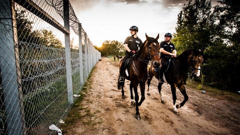 Ungarske politivagter ved grænsehegn mod Serbien. (Foto: Bőr Benedek via Flickr)